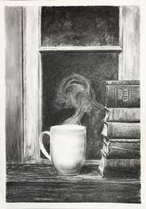 5 AUGUST CHARCOAL BOOKS AND COFFEE CUP