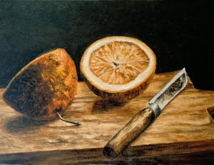 OIL PAINTING DEMO ORANGE AND KNIFE