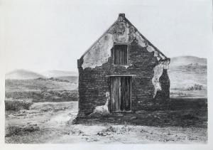 KAROO SHED final drawing in charcoal