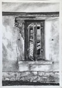 Wall and Window final drawing in charcoal